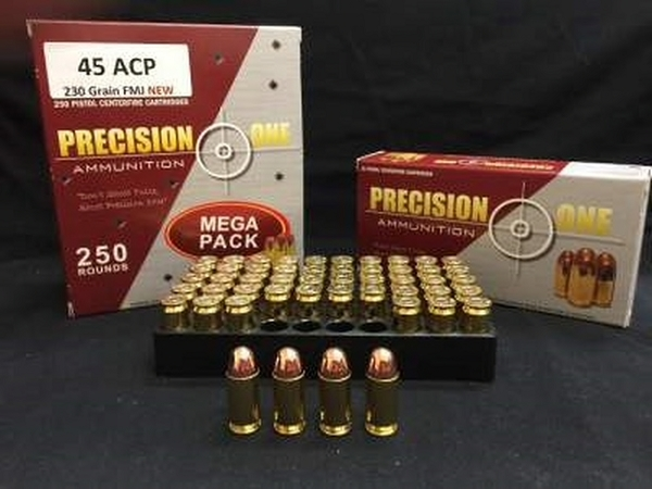 Precision One 45 Auto 230 Grain Full Metal Jacket 250 RND