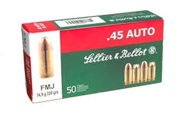 Sellier & Bellot 45 ACP 230 Grn FMJ 50 RNDs